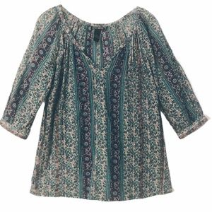 4/$25  Lucky Brand Top Purple Green 3/4 Sleeves